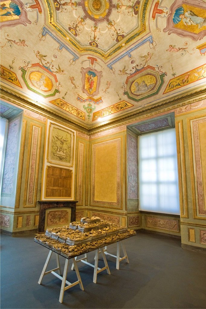 italia, piemonte, castello di rivoli, museo di arte contemporanea. Italy, Piedmont, Rivoli castle, frescoes : Stock Photo
