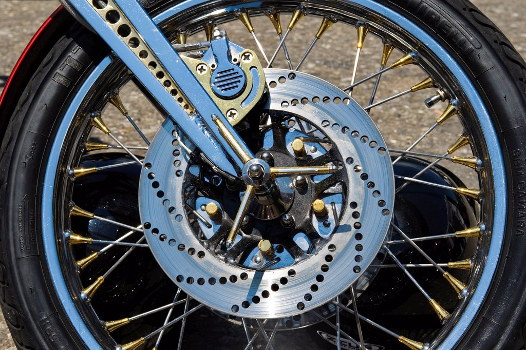 Stock Photo: 3153-855467 Switzerland, Brunnen, Harley Davidson festival, disc brake