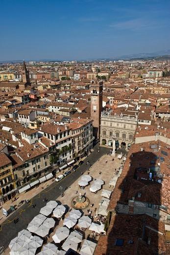 Italy, Veneto, Verona, Piazza delle Erbe. Italy, Veneto, Verona, Piazza delle Erbe : Stock Photo