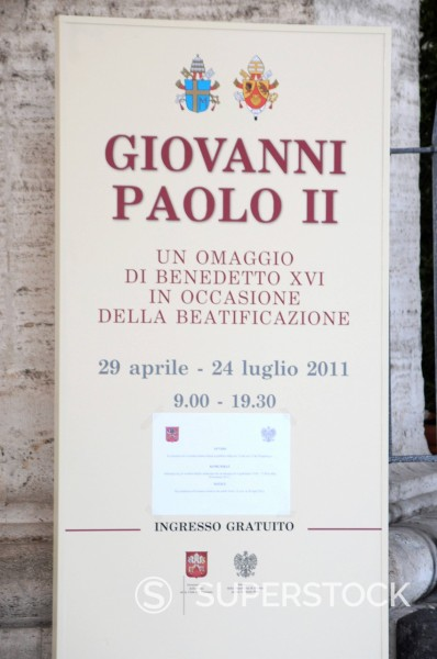Stock Photo: 3153-862580 preparativi per l´evento di beatificazione di papa giovanni paolo II, roma 29 aprile 2011