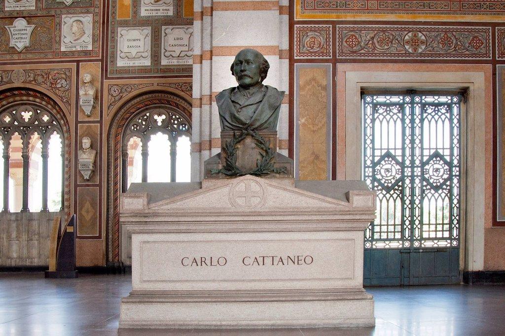 tomba di carlo cattaneo, cimitero monumentale, milano, italia. Italy, Milan, Cimitero monumentale, Carlo Cattaneo tomb : Stock Photo