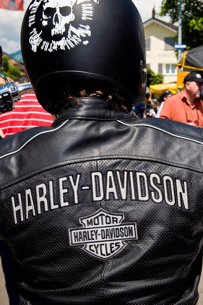 Stock Photo: 3153-863590 festival delle harley davidson, brunnen, svizzera. Switzerland, Brunnen, Harley Davidson festival