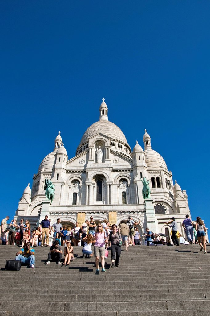 basilica del sacro cuore, montmartre, parigi, ile de france, francia. France, Ile de France, Paris, Montmartre, Sacre Coeur Basilica : Stock Photo
