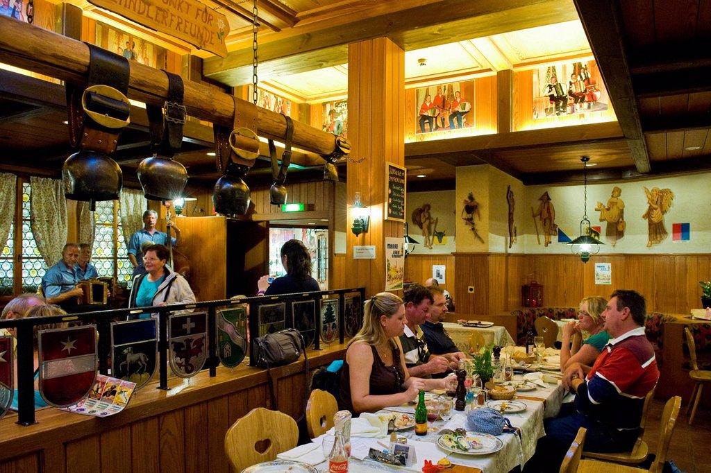 Stock Photo: 3153-864607 ristorante tradzionale, zermatt, canton vallese, svizzera. Switzerland, Canton Valais, Zermatt, traditional restaurant