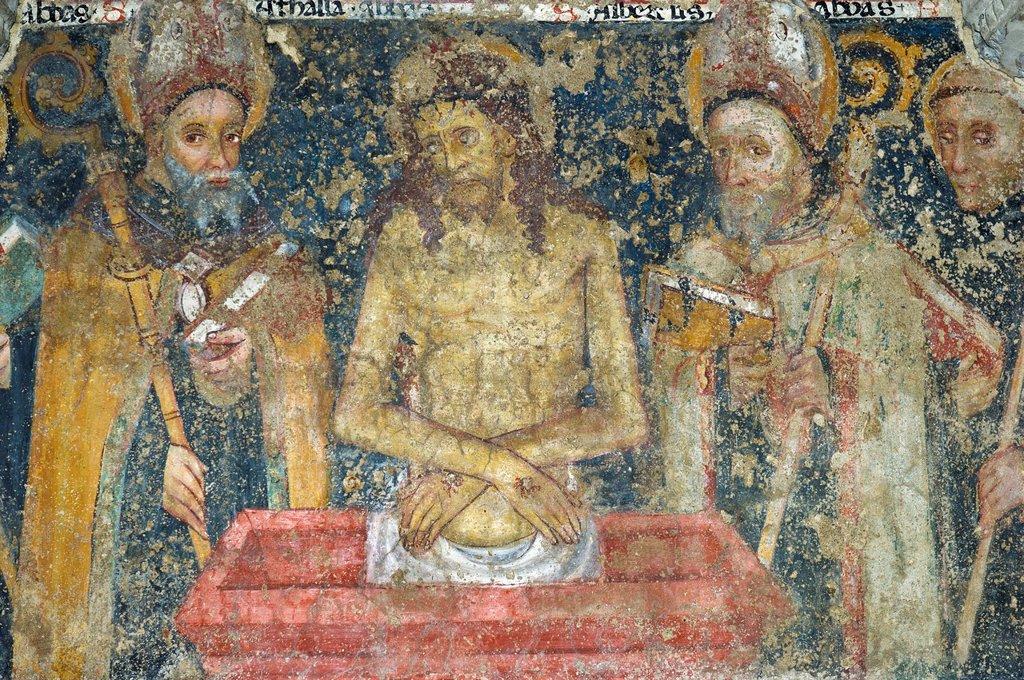 fresco in the san colombano crypt, bobbio, italy : Stock Photo