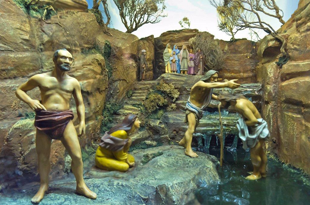 christmas village: life of christ, baptism, bussolengo, italy : Stock Photo