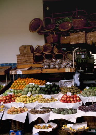Stock Photo: 3198-254 High angle view of fruits at a market stall, Castries, St. Lucia