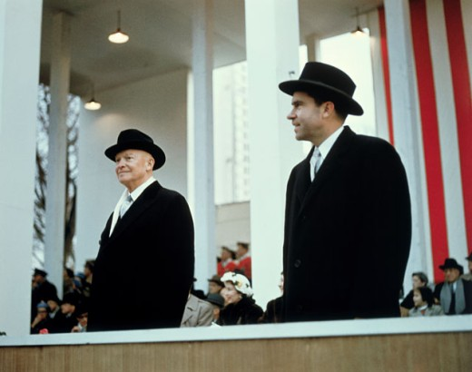 Dwight D. Eisenhower and Richard Nixon, Presidential Inauguration, 1957 : Stock Photo