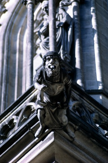 Czech Republic, Prague, St. Vitus Cathedral, Gothic Gargoyle, close-up : Stock Photo