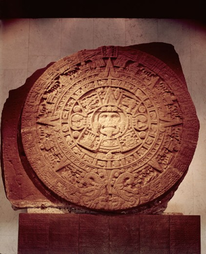 Stock Photo: 3800-470815 Aztec Sun Stone Calendar