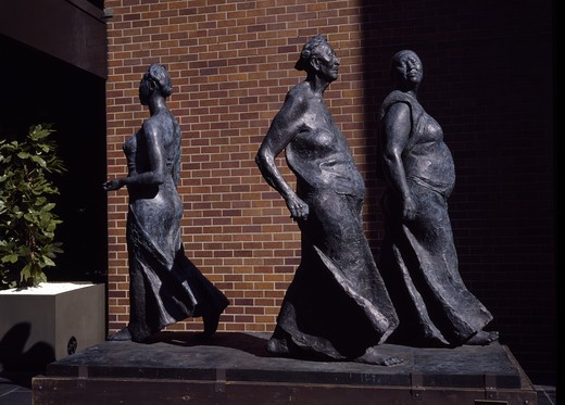 Stock Photo: 3800-579657 USA, Kansas, Wichita, Three Women Walking by Francisco Zuniga, (1912-1998)