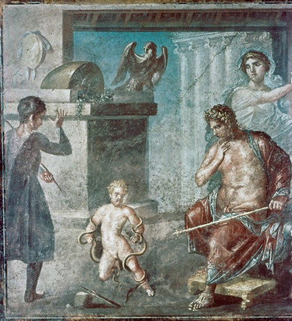 Hercules Wrestles with the Snakes 63-79 Roman Art Fresco Casa dei Vettii, Pompeii, Italy : Stock Photo