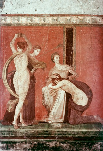 Stock Photo: 3800-903711 Villa Of The Mysteries: Flagellated Woman And Bacchante C. 50 BC Roman Art(- ) Fresco Villa of the Mysteries, Pompeii, Italy