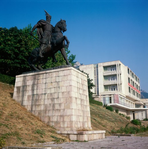 Low angle view of Independence Monument, Kruje, Albania : Stock Photo