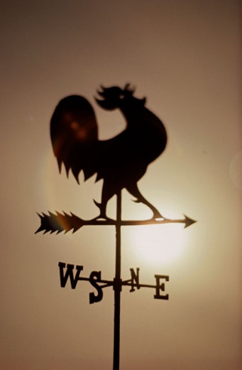 Stock Photo: 3803-484643 silhouette of a Rooster windvane