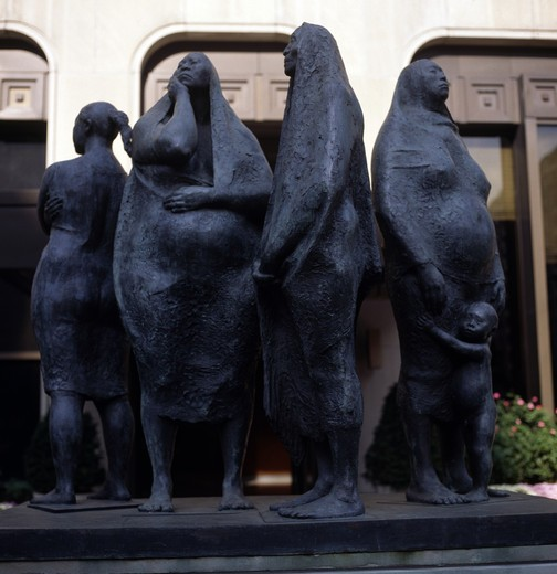 Stock Photo: 3803-576558 Mexican Family, sculpture by Francisco Zuniga, 1912-1998