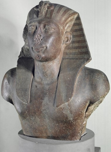 Stock Photo: 3804-327241 Bust of Unidentifiable Pharaoh,  Italy,  Florence,  Museo Archeologico