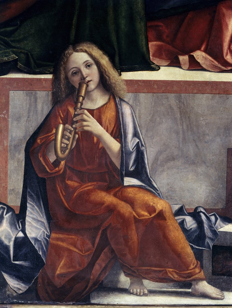 Stock Photo: 3804-327242 Child with Wind Instrument  (Detail from The Presentation of Jesus in the Temple) 