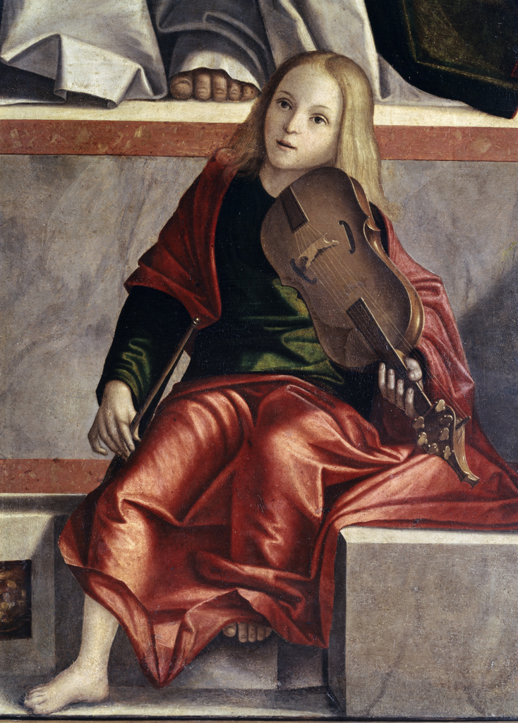 Stock Photo: 3804-327244 Child with Violin (Detail from The Presentation of Jesus in the Temple) 