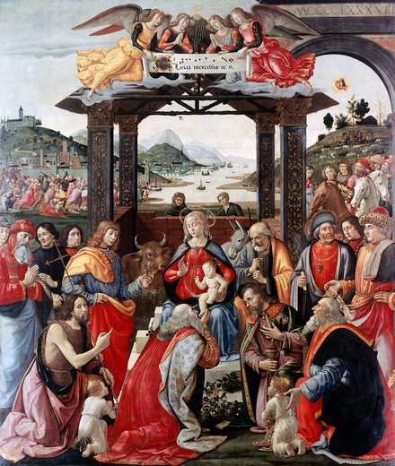 Stock Photo: 3804-327246 Adoration Of The Magi Domenico Ghirlandaio (1449-1494 Italian)