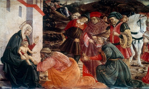 Stock Photo: 3804-329621 Adoration of the Magi by Filippo Lippi,  circa 1406-1469