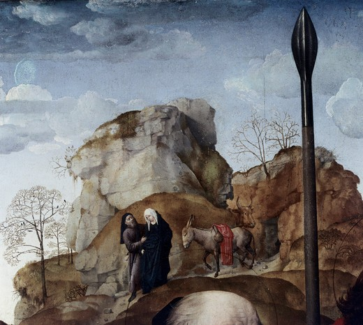 Stock Photo: 3804-395753 Mary and Joseph (Portinari Triptych Detail) by Hugo van der Goes,  oil on wood,  1476-79,  (circa 1440-1482),  Italy,  Florence,  Galleria degli Uffizi