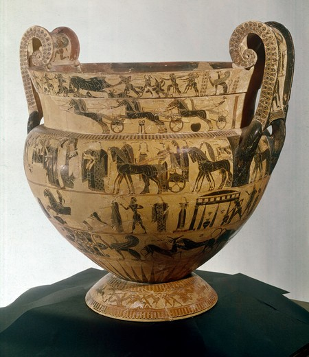 Stock Photo: 3804-397036 Italy, Florence, Museo Archeologico, Francois Vase by Kleitias and Ergotimos, 570 B.C