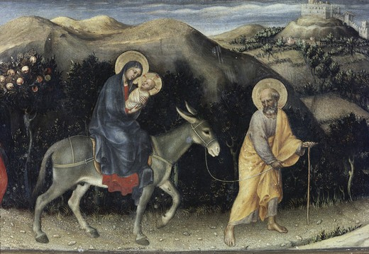 Stock Photo: 3804-397069 Flight into Egypt (Predella detail of Adoration of the Magi) 