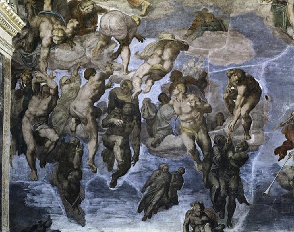 Last Judgement - Detail Michelangelo Buonarroti 1475-1564 Florentine Sistine Chapel Vatican Rome  : Stock Photo
