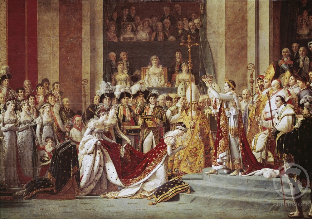Stock Photo: 3804-398017 The Consecration of the Emperor Napoleon & the Coronation of the Empress Josephine in the Cathedral of Notre-Dame de Paris on  December 2, 1804