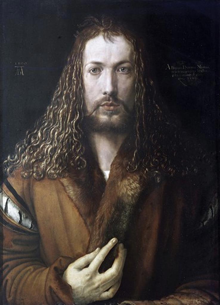 Stock Photo: 3804-398023 Self Portrait 1500 Albrecht Durer (1471-1528 German)  Oil on wood panel Alte Pinakothek, Munich, Germany