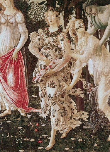 Stock Photo: 3804-407240 La Primavera (Detail) Ca. 1481 Sandro Botticelli (1444-1510 Italian) Tempera On Wood Galleria degli Uffizi, Florence, Italy
