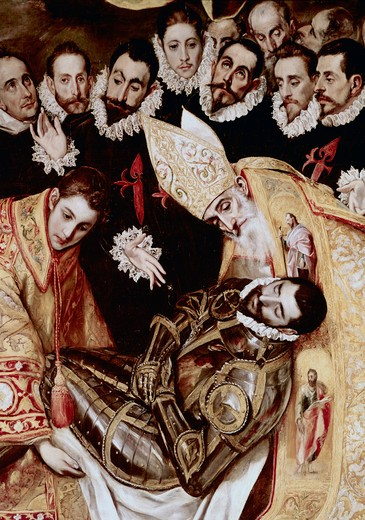 Stock Photo: 3804-412585 The Burial Of Count Orgaz - Detail El Greco (1541-1614 Greek) Iglesia Santo Tome, Toledo, Spain