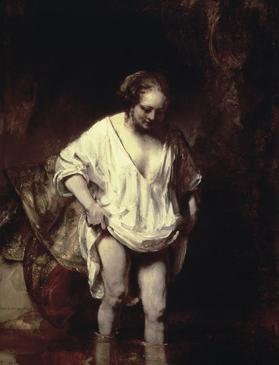 Stock Photo: 3804-414454 Woman Bathing in a Stream