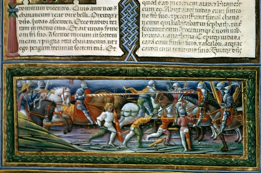 Italy, Modena, Este Museum, Battle of the Israelites and Canaanites by Francesco di Giovanni de Russi, Illuminated manuscript, 15th century : Stock Photo