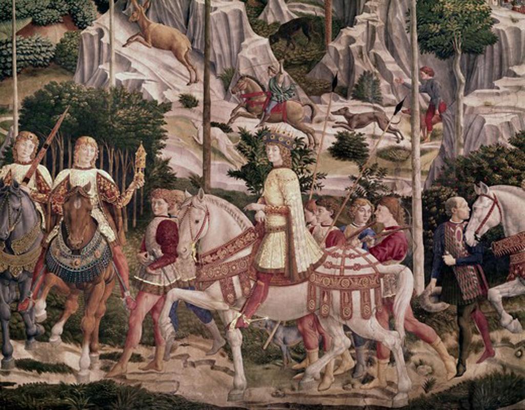 Stock Photo: 3804-431695 Journey Of The Magi - Detail, 1460, Benozzo Gozzoli, (1420-1497 Italian), Palazzo Medici-Riccardi, Florence, Italy