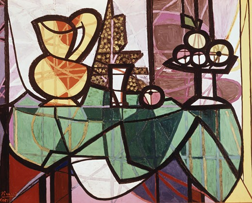 Stock Photo: 3805-412464 Pitcher And Bowl Of Fruit by Pablo Picasso, 1931, 1881-1973, USA, New York City, Museum of Modern Art