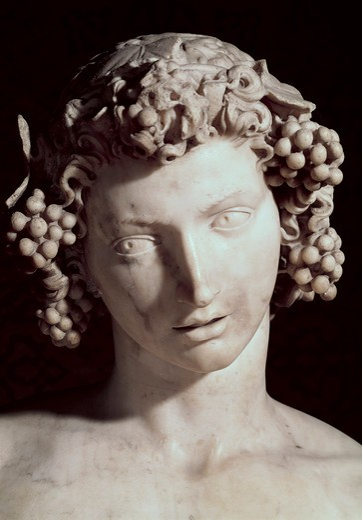 Stock Photo: 3805-439602 Bacchus 1496-7 Michelangelo Buonarroti  (1475-1564 Italian) Marble Sculpture Museo Nazionale de Bargello, Florence, Italy
