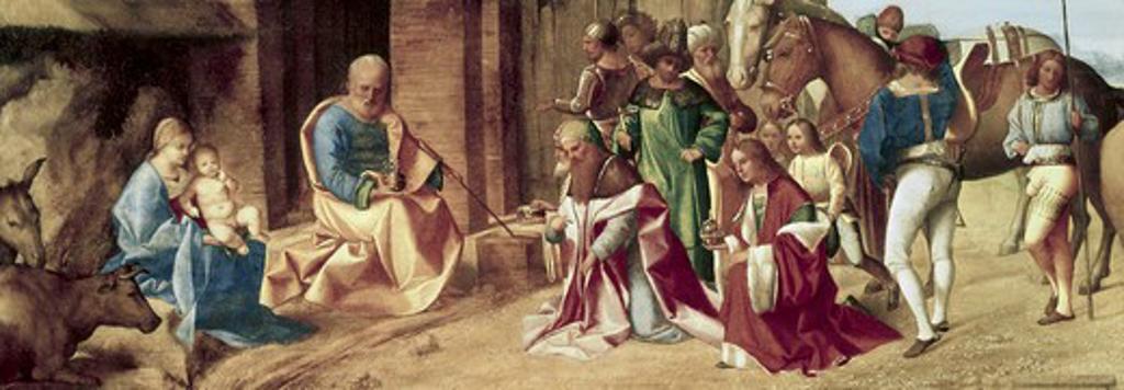 Stock Photo: 3805-441038 The Adoration of the Magi ca.1490 Giorgione (1477-1510 Italian) Oil on canvas National Gallery, London, England