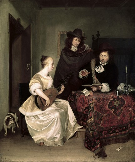 Stock Photo: 3805-441053 Young Woman Playing the Theorbo to Two Men ca.1667-8 Gerard ter  Borch (1617-1681 Dutch)  Oil on canvas National Gallery, London, England