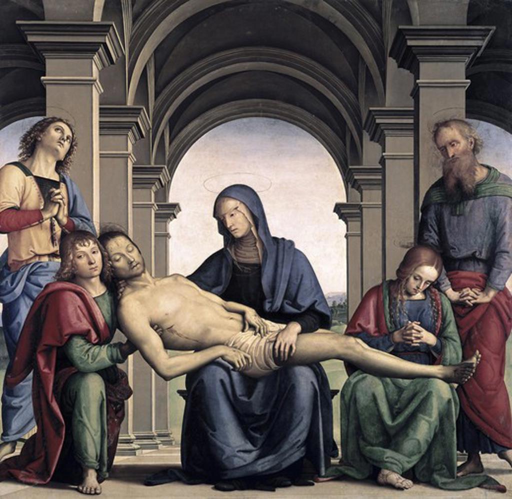 Stock Photo: 3805-441056 Pieta 1493-94 Pietro Perugino (ca.1450-1523 Italian) Oil on panel Galleria degli Uffizi, Florence