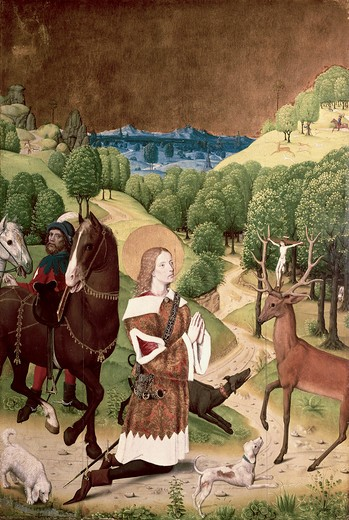 Stock Photo: 3805-442544 Conversion Of St. Hubert Master of Werden (ca.1463-1480 German) Oil On Wood Panel National Gallery, London, England