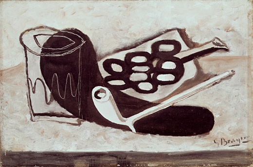 Stock Photo: 3805-449917 Nature Morte Con Pipe E Uva by Georges Braque, 1933, 1882-1963
