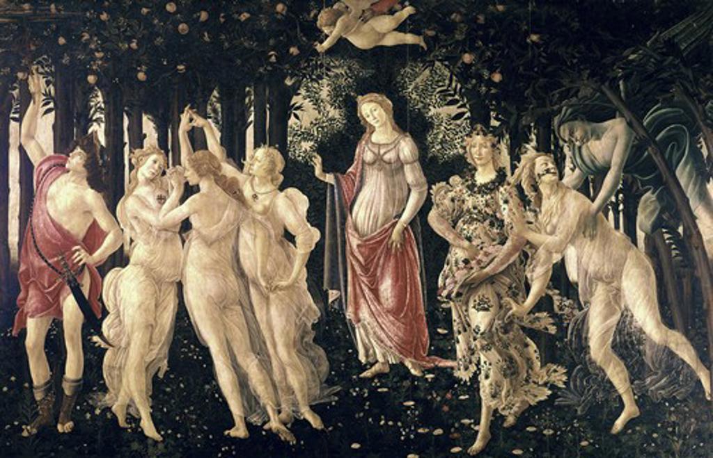 Stock Photo: 3805-449939 La Primavera ca.1481 Sandro Botticelli (1444-1510 Italian) Tempera on wood Galleria degli Uffizi, Florence, Italy