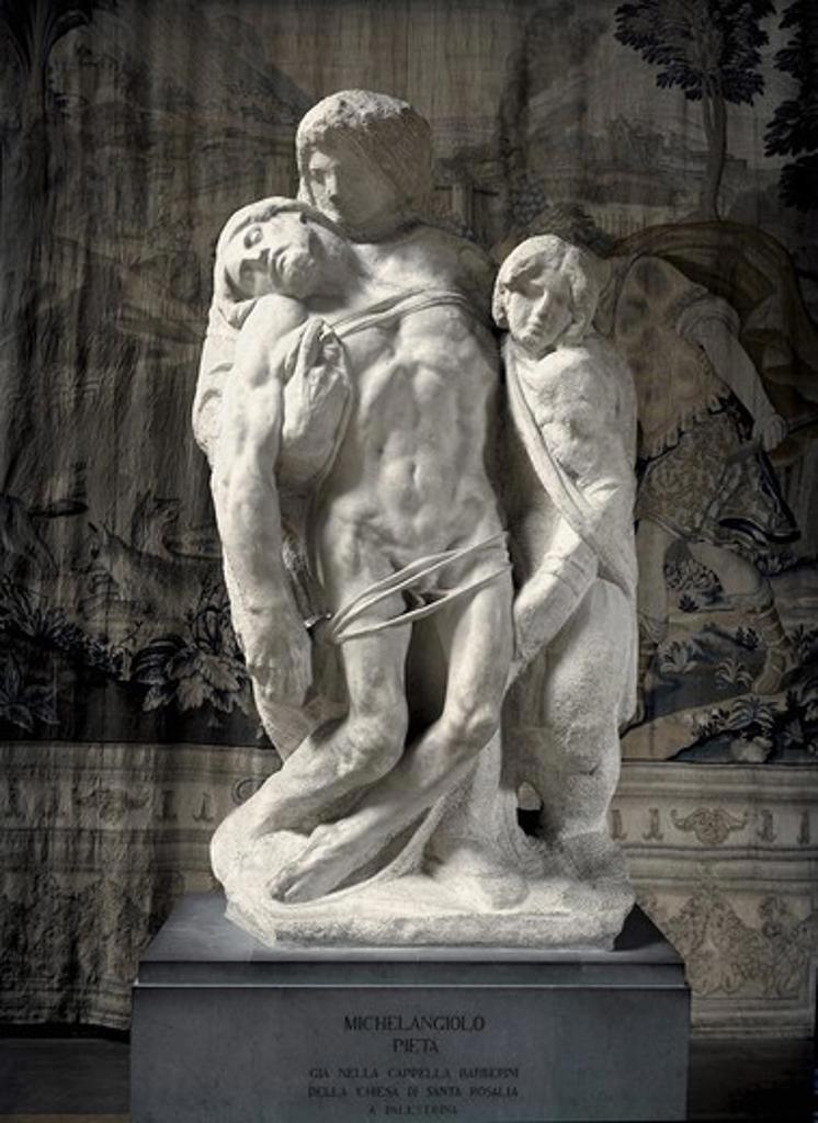 Pieta di Palestrina  Michelangelo Buonarroti (1475-1564 Italian) Marble Galleria dell 'Accademia, Florence, Italy   : Stock Photo
