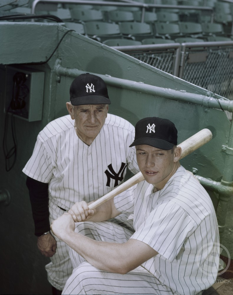 Casey Stengel and Mickey Mantle  New York Yankees  c. 1954      : Stock Photo