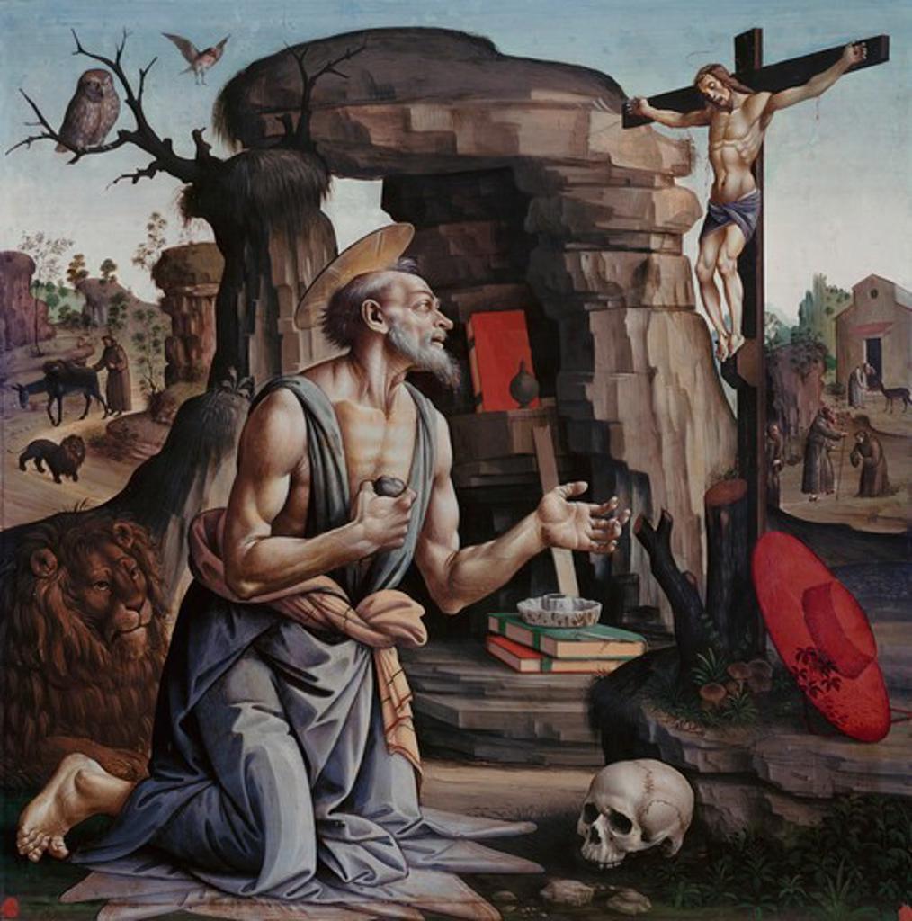 Stock Photo: 3810-395703 Saint Jerome  Bartolomeo di Giovanni (15th C. Italian)