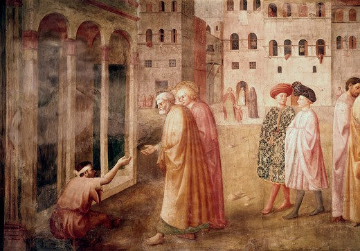 Stock Photo: 3810-412510 The Healing Of The Cripple Detail #1 (From The Life Of St. Peter Cycle) 1425-28 Masaccio (1401-1428 Italian) Fresco Cappella Brancacci, Santa Maria del Carmine, Florence, Italy
