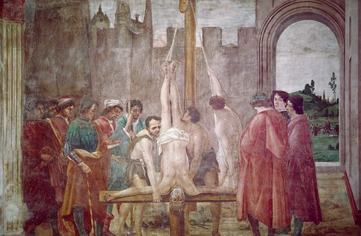 Crucifixion of St. Peter by Masaccio from Life of St. Peter cycle,  fresco,  1425-28,  (1401-1428),  Italy,  Florence,  Santa Maria del Carmine,  Brancacci Chapel : Stock Photo
