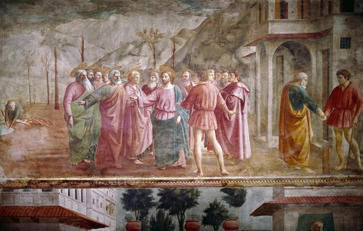 Payment of Tribute, from The Life Of St. Peter cycle, by Masaccio, fresco, 1425-1428, 1401-1428, Italy, Florence, Santa Maria del Carmine, Cappella Brancacci : Stock Photo